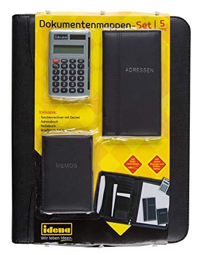 Idena 229016 - Dokumentenmappen-Set DIN 4, Set enthält: 1 Block, 1 Adressbuch, 1 Notizbuch, 1 Taschenrechner, schwarz, 1 Stück