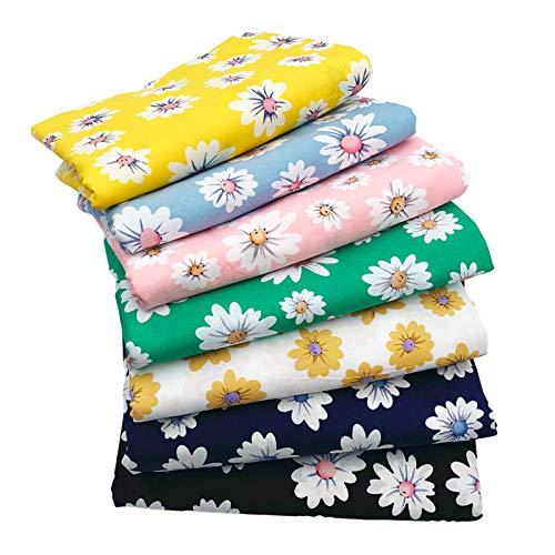 7 pezzi di cotone tessuto di girasole patchwork, 100% cotone, fogli di tessuto fai da te per cucito, trapuntatura, artigianato fai da te, artigianato (48 cm x 48 cm)
