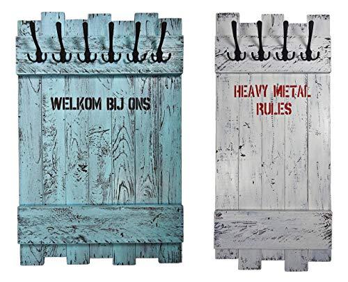 Echtholz Garderobe nach Wunsch (WUNSCHBREITE & WUNSCHFARBE & WUNSCHTEXT) weiß mit 4x3 Metallhaken aus Echtholz/Massivholz im used look