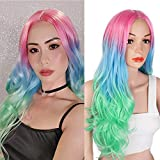 AISI BEAUTY Ombre Colorful Long Wavy Wig Synthetic Curly Wave Wigs for Women Costume Middle Part Full Wigs for Halloween Cosplay(Pink Blue to Green)