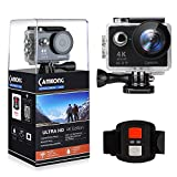 CAMKONG Action Camera 4K WiFi Waterproof Sports Camera, Ultra HD 170 Degree Wide Angle 12 MP DV Camcorder with 2.4G Remote Control, 2Pcs Rechargeable Batteries, 19 Mounting Kits