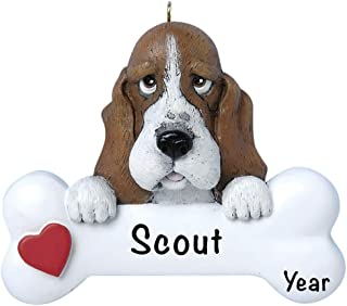 Basset Hound Personalized Ornament - (Unique Christmas Tree Ornament - Classic Decor for A Holiday Party - Custom Decorations for Family Kids Baby Military Sports Or Pets)