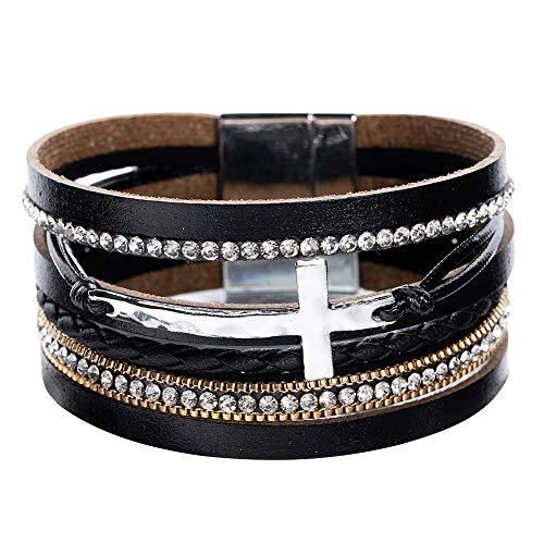 Women Cross Bracelets Jewelry - Leather Bracelet Bangle with Cross Pearl, Wrap Bracelet for Girls, Sister and Mom (Cross Black)