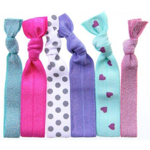 Twistband, Sweet Pea, elastici per capelli, confezione da 6, colori e trame: verde metallico, lampone, grigio a pois su bianco, lavanda, cuori fucsia su menta, rosa metallico
