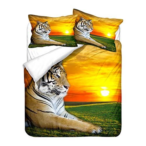 3D Animale Leone Tigre Set biancheria da letto Prateria Scenario Modello Copripiumino e Federa, Morbido Poliestere Anti Rughe (Tiger 1, 240x220 cm)