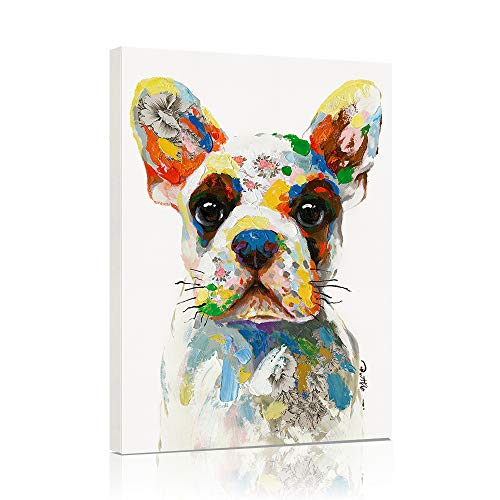 B BLINGBLING French Bulldog Canvas Wall Art, Modern Cute Colorful Puppy Poster Dog Art Pictures Wall Decor for Kids Bedroom Nursery Decoration Framed and Ready to Hang 12x16 Inch