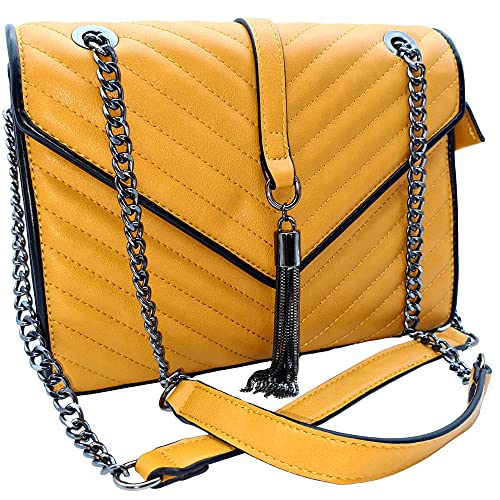 Bolso Bandolera de Cadena con Solapa Acolchado - Bolso de Mujer suave impermeable - Bolso de hombro elegante y de moda (Mostaza)