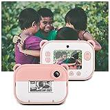 Fine Portable Kids Digital Camera,1200w+1200w Dual Lens Instant Print Digital Camera 2.4in IPS Display Creative Toys Camera (Pink)