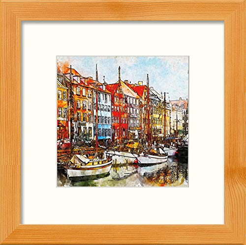 L Lumartos Moored bij Amsterdam Hedendaagse muurdecoratie Aquarel Print