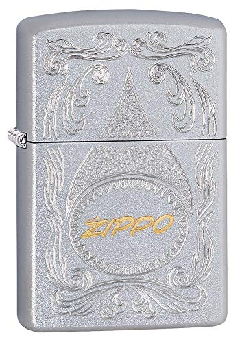 Zippo Auto Two Tone, Accendino Antivento, Ricaricabile a Benzina Unisex Adulto, Cromo, Regular 5.7 x 3.7 x 1.2 cm