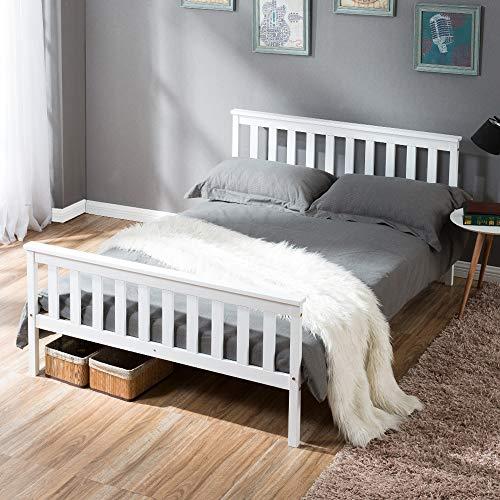Cama de plataforma de tamaño doble, marco de cama de madera maciza con cabecero, soporte de listones de madera resistente, no requiere somier (135 x 190)