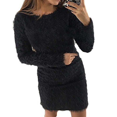 Juleya Damen Strickkleid Winterkleid Pulloverkleid Elegant Wolle Sweater Kleider Frauen Langarm Minikleid Strickpullover Stricksweat Rosa Rot Grau...
