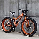Bicicleta 26 Pulgadas MTB Arriba Rueda Grasa Moto Playa Nieve Grande Grasa Bicicletas 21 Velocidades Grasas para Adultos NeumáTico Grasa Bicicleta MontañA Crucero Bicicleta Grasa,C,24IN