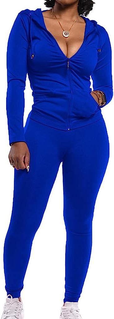 WUAI-Women 2 Pieces Outfit Set Long Sleeve Zip Up Hoodie Sweatshirt Skinny Sweatpants Jogger Casual Tracksuit Loungewear