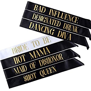 7 Bachelorette Sashes- 6 Bride Tribe Sashes and 1 Bride To Be Sash (Black) from HSAS Creations