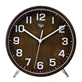 JUSTUP 8 Inch Wood Table Clock, Retro Non-Ticking Table Desk Clock Battery Operated with S...