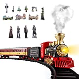 SNAEN Train Sets w/ Steam Locomotive Engine, Cargo Car and Tracks, Battery Powered Play Set Toy w/ Smoke, Light & Sounds, for Kids, Boys & Girls 3 4 5 6 7 Years Old