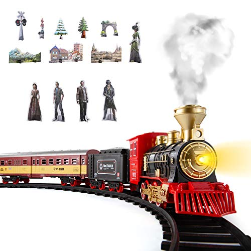 Train Sets w/ Steam Locomotive Engine, Cargo Car and Tracks, Battery Powered Play Set Toy w/ Smoke, Light & Sounds, for Kids, Boys & Girls 3 4 5 6 7 Years Old