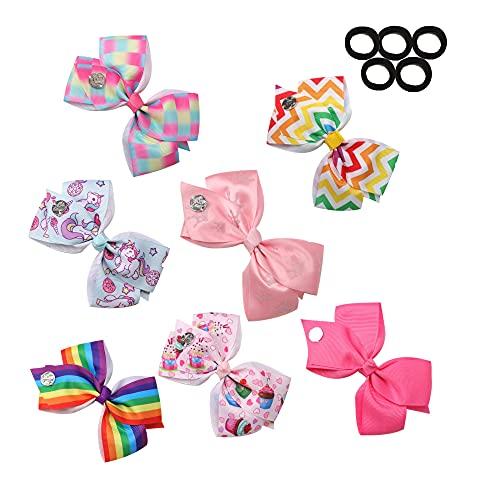 7Pcs Hair Bows for Girls, 5 Inches JOJO Siwa Hair Bows for Girl Grosgrain Ribbon Hair Barrettes Accessories for Toddler