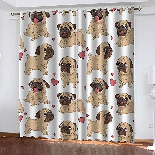 MXYHDZ Cortinas Dormitorio Opacas - Cachorro Mascota Amarillo Cortinas Salón para Habitación Opacas con Aislamiento Térmico- 234 x 229 cm para Oficina, Dormitorio habitación de los niños, 2 Piezas