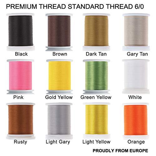 Riverrun Super realista estándar hilo 3/0,6/0,8/0,Twisted Thread, cuerpo de hilo mosca Tying Material Orgullosamente de Europa Tie Flies Body, 12 Color/Set Standard thread 6/0