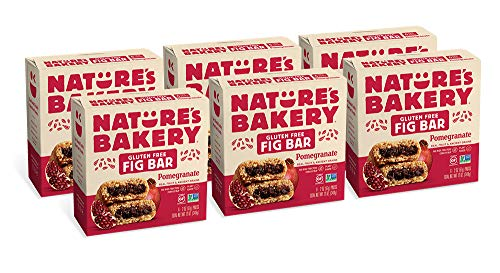 Nature's Bakery Gluten Free Fig Bars, Pomegranate, Real Fruit, Vegan, Non-GMO, Snack bar, 6 boxes with 6 twin packs (36 twin packs)