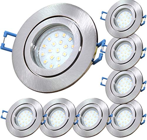 LED Bad Einbauleuchten 12V inkl. 8 x 3W SMD LM Farbe Eisen geb. IP44 LED Deckenspots Neptun Rund 3000K Einbaustrahler