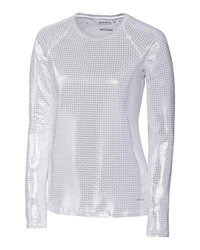 Cutter & Buck Annika Women's Stretch UPF 50+ Metallic Long Sleeve Solar Guard Shirt, Silver, Medium