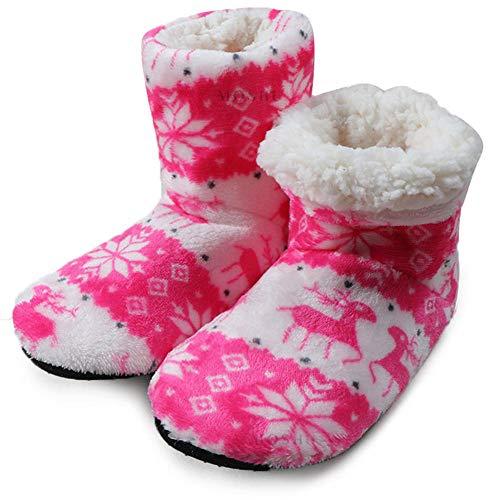 LLSMBHfs Zapatillas de Invierno para Mujer, Zapatillas cálidas de algodón para el hogar, Calcetines navideños para Interiores, Zapatos para Mujer, Zapatos de Piso para Mujer, Calzado-Rosado_37
