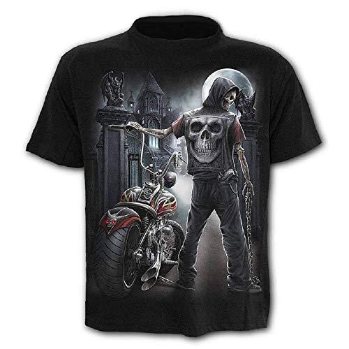 Camiseta Hombre Calavera - gótico - Manga Corta - Divertido - Camisa - Metal - Biker - niño - Rock - Punk - Oscuro - Luna - Disfraz - Halloween - Color Negro