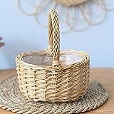 Cesta de pícnic, barco de madera natural con asas, cesta de mimbre, cesta de regalo, cesta vacía, cesta de pícnic, cesta grande de almacenamiento, cesta de vino con asa, cesta de boda