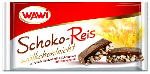 WAWI Schoko Reis Tafel in Edelvollmilch Schokolade, 8er Pack (8 x 200 g)