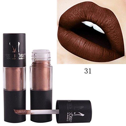 JERFER Matt Flüssiger Lippenstift Metallischer Glanz Lippenstift kosmetische Schönheits Make up (G)