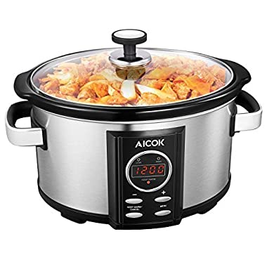 Aicok Slow Cooker, Programmatic Slow Cooker, 7-Quart Oval Cooker with Digital Timer, Removable Ceramic Cooking Pot, Stainless Steel