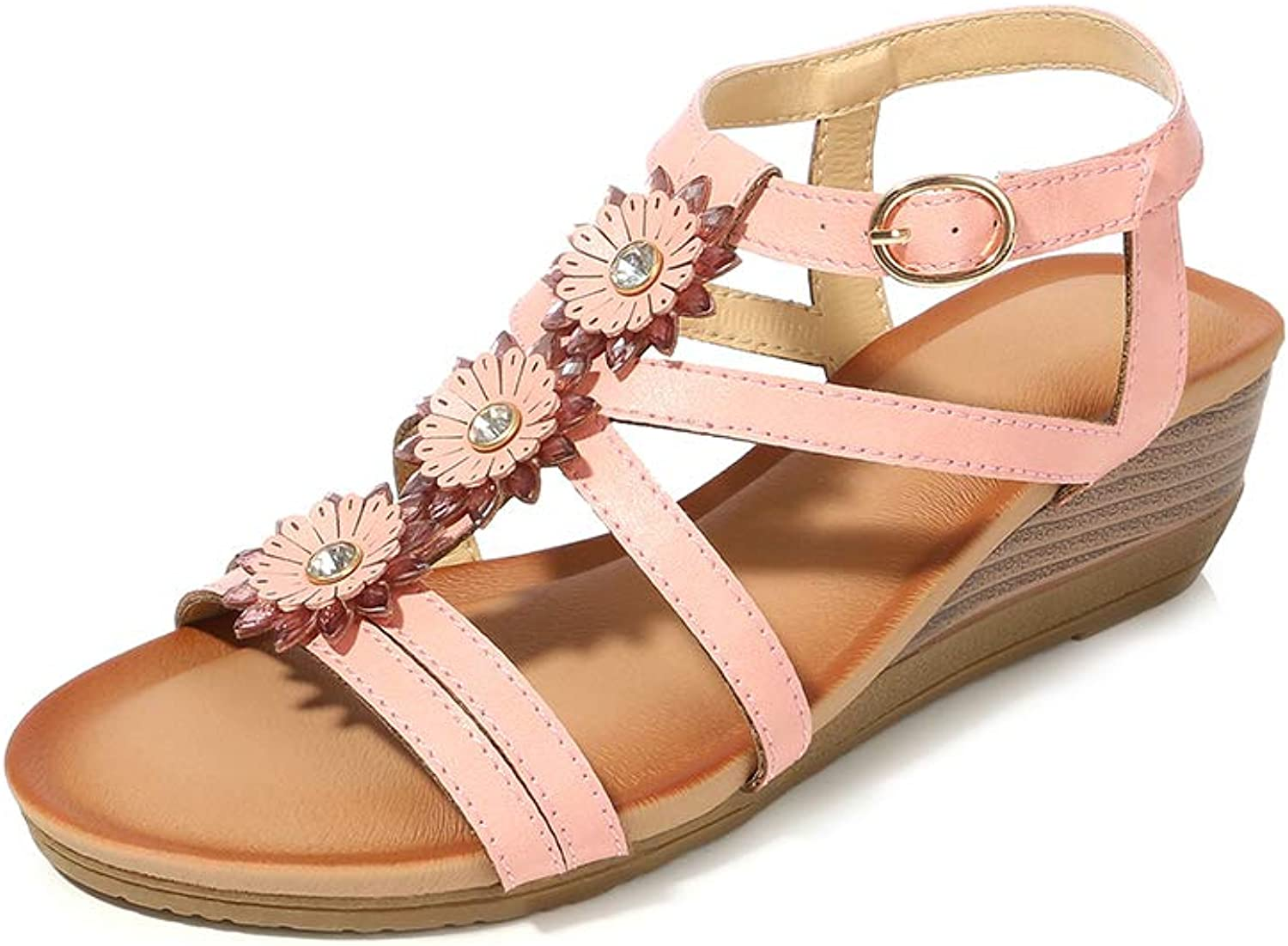 Navoku Womens Leather Ankle Strap Jeweled Floral Wedge Sandals