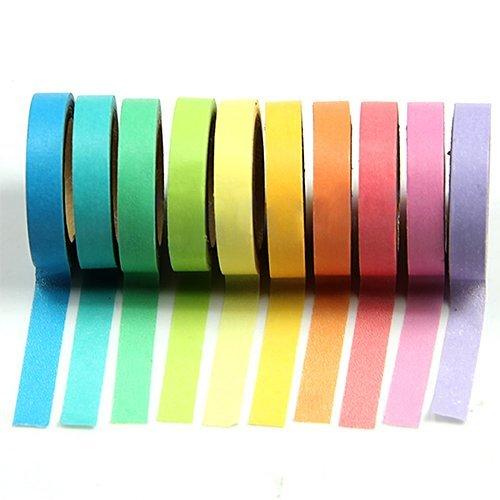 WEETON, confezione da 10 pezzi, decorazione arcobaleno Washi-Rotoli di nastro adesivo per album fai da te, lavori di