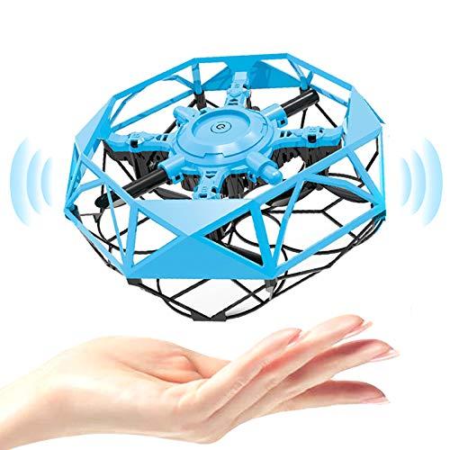 HshDUti Mini drone giocattolo per bambini, drone portatile, azionato a mano, con indicatore LED, elicottero UFO con sensore di movimento a infrarossi, piccoli regali per bambini, ragazze, ragazzi, blu