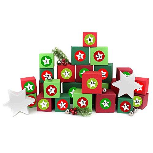24Calendario de Adviento Cajas–para rellenar sí–con etiquetas de 24Número–con rojo de cajas de distintos tamaños–verdes de papel Dragón