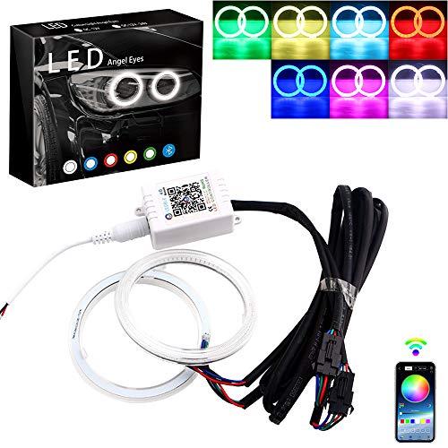 GrandviewTM 1-set 70MM Multi-Color RGB LED Halo Rings Light COB 72SMD Smart Phone iOS Android App Bluetooth Control Car Angel Eyes Circle Ring Headlight Lamp Daytime Running Lights(DRL)12V