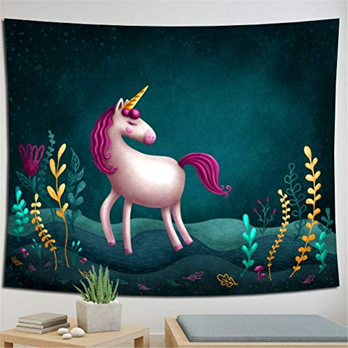 N / A Tapestry Wall Hanging Unicorn Moon Tapestry Indian Wall art Tapestries Beach Throw Hippie Bohenian Bedding Yoga Mat Picnic Rugs for Home Bedroom Living Room Holiday Decoration 150x150cm H768