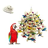 MQFORU Bird Toy Parrot Toy Made with Nature Wood, Parrot Toys for Large and Medium Birds, Best Toys for African Grey, Parakeets, Amazon Parrots, Finch, Budgie, Cockatiels, Conures ect.…