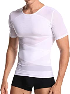 Joweechy Men Body Shaper Gynecomastia T Shirt Gym Undershirt Abs Abdomen Zipper Slimming Girdle Corset