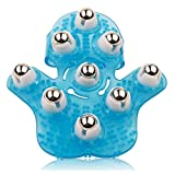 Blue Hand Held Massager with 9 360-degree-roller Metal Roller Ball Palm-Shaped Massage Gloves for Muscle Back Neck Joint Foot Shoulder Leg Pain Relief