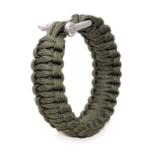 Ganzoo Paracord 550 Armband + Metall-Verschluss, Survival & Outdoor, Nylon-Seil grün