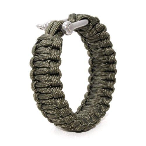 Ganzoo Paracord 550 armband + metalen sluiting, survival & outdoor, nylon touw groen