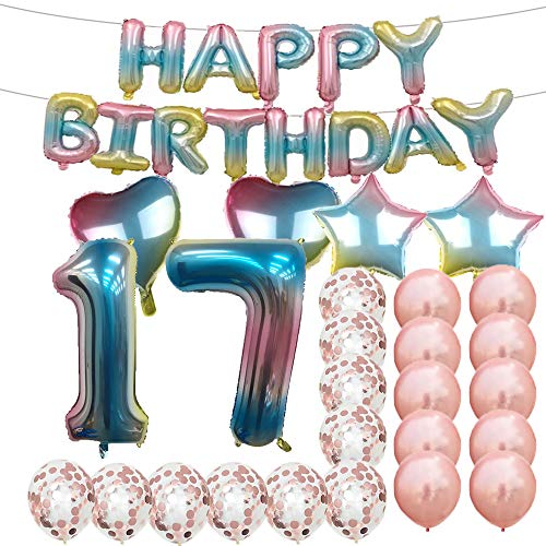 Sweet 17th Birthday Decorations Party Supplies,Rainbow Number 17 Balloons,17th Foil Mylar Balloons Rose Gold Latex Balloon Decoration,Great 17th Birthday Gifts for Girls,Women,Men,Photo Props