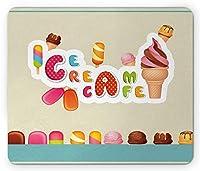 アイスクリームマウスパッド、プレミアム品質のグルメサンデーアイスロリー入りのソフトで滑らかな冷凍デザート、標準サイズの長方形滑り止めラバーマウスパッド、多色