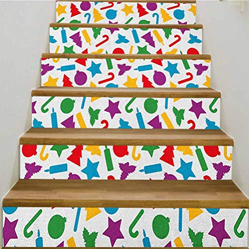 3D Kids Christmas Self-Adhesive Stair Riser Decal,Colorful Silhouettes of Scattered Yuletide Icons Holly Candy Stars Candles Staircase Decals Mural Decor Wallpaper,39.3'w x 7'h x6pcs/2 Set,Multicolor