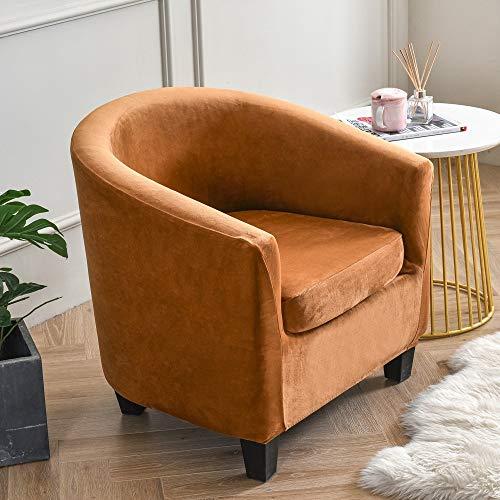 Plüsch Samt Badewanne Stuhl Schonbezug High Stretch Einfarbig Dekorativ Verschleißfest Einteilig Fass Akzent Sessel Sofa Möbel Protektor Wrap Karamell