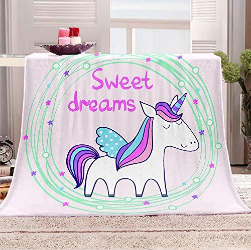 ZZZXX Fluffy Blankets Rainbow Animal Unicorn Super Soft Blankets Print Warm Winter Plush Fantasy Chair Bedroom, 150 X 200 Cm